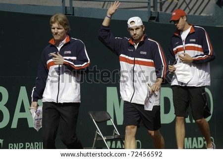 SANTIAGO, CHILE - MAR 4: Jim Courier,  Andy Roddick, and Jhon Isner uring during the opening ceremony of the match against Chile during the Davis Cup. March 4, 2011 in Santiago Chile. - stock photo