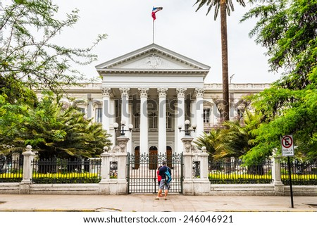 SANTIAGO, CHILE - NOV 1, 2014: Former Congress Building in Santiago de Chile. Santiago de Chile is the capital and the largest city in Chile