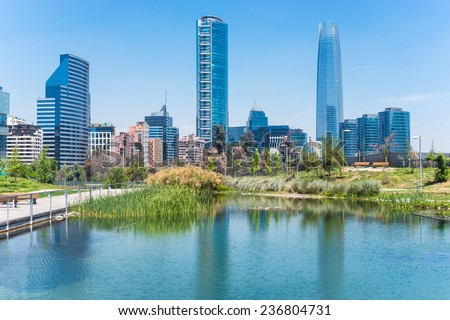 Santiago Cityscape at summer time - stock photo
