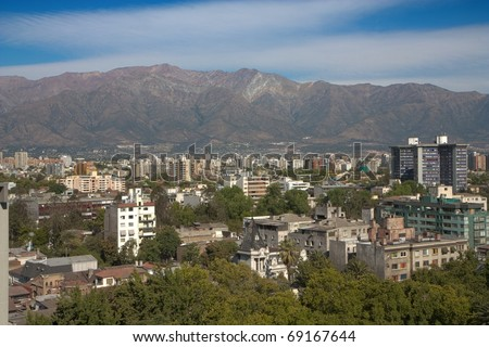 Santiago de Chile and Andes mountains - stock photo