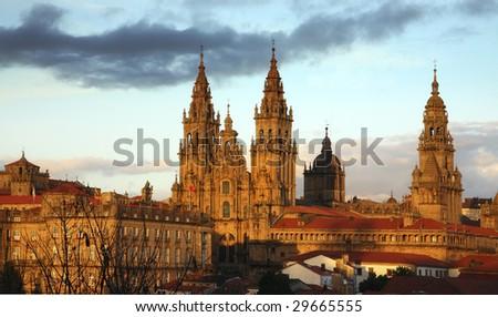 santiago de compostela cathedral - stock photo