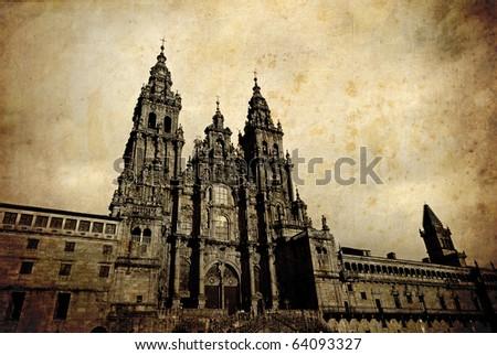 Santiago de Compostela Cathedral vintage postcard, Spain - stock photo