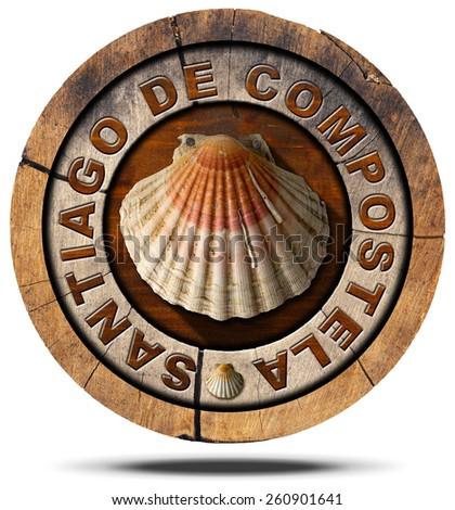 Santiago de Compostela - Pilgrimage Symbol. Pilgrimage wooden symbol of Santiago de Compostela with seashell. Isolated on white background - stock photo