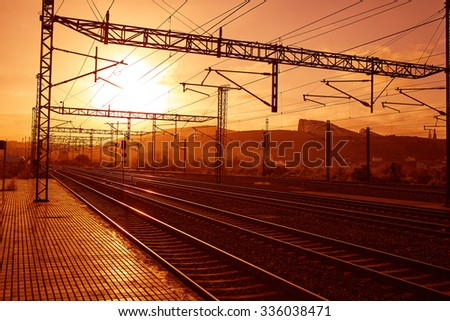 Santiago de Compostela sunrise at train railways end of Saint James Way