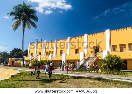 SANTIAGO DE CUBA,  CUBA - FEB 1, 2016: Former La Moncada barracks, important place of Cuban history, Santiago de Cuba - stock photo