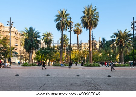 Santiago, Region Metropolitana, Chile - June 06, 2016: A view of buildings an people at Plaza de Armas, the main square of Santiago de Chile.