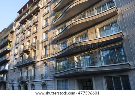 Santiago, Region Metropolitana, Chile - June 07, 2016: The Bellas Artes neighborhood is one of the most traditional and emblematic neighborhoods in Santiago and well known for the French architecture.