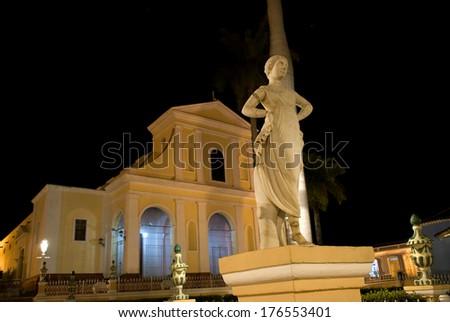 Santisima Trinidad Church by night, Trinidad, Cuba - stock photo