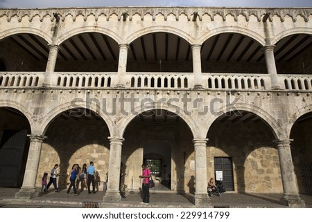 SANTO DOMINGO/DOMINICAN REPUBLIC-NOVEMBER 4: Diego Columbus palace or Alcazar on november 4th 2014 in the caribbean capital of santo Domingo, Dominican Republic. Diego was the elder son of C. Columbus - stock photo
