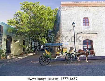 SANTO DOMINGO - MARCH 29: View of the Colonial Zone with Damas Street on March, 29 2013 in Santo Domingo. Dominican Republic. Calle Las Damas the oldest and best preserved old town street.