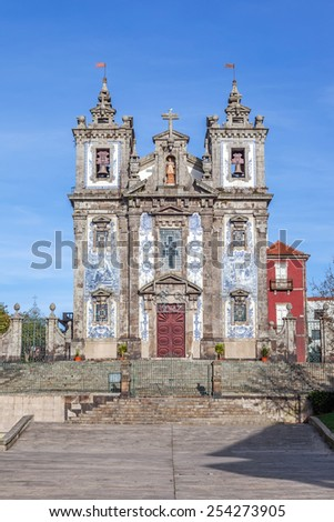 Santo Ildefonso Church in the city of Porto, Portugal. 18th century Baroque architecture, covered with the typical Portuguese blue tiles called Azulejos. Unesco World Heritage Site - stock photo