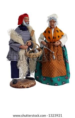 """Santon Figurines -- Christmas Provence """"santons"""" (Christmas crib figures) - stock photo"""