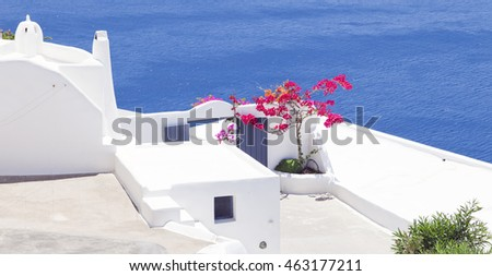 Santorini background. Summer in the greek islands. Cycladic architecture.
