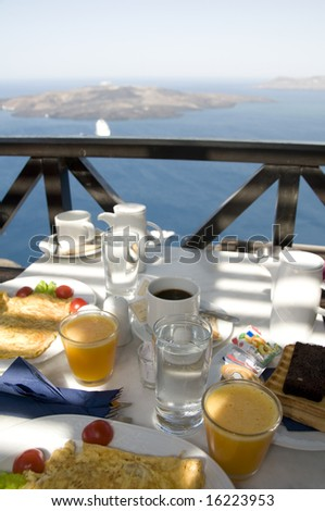santorini breakfast with a view over the aegean sea caldera cyclades greek islands greece
