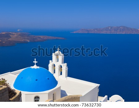 Santorini church (Firostefani) - vacation background