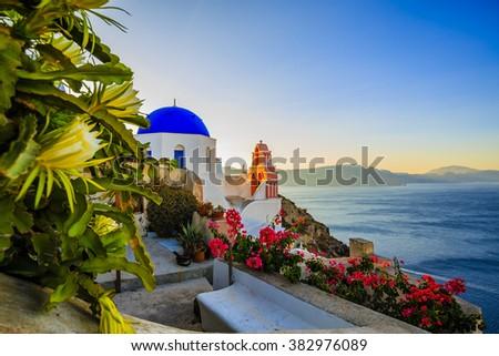 Santorini, Greece - Oia at sunset  - stock photo