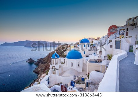 Santorini, Greece - Oia village at sunset - stock photo