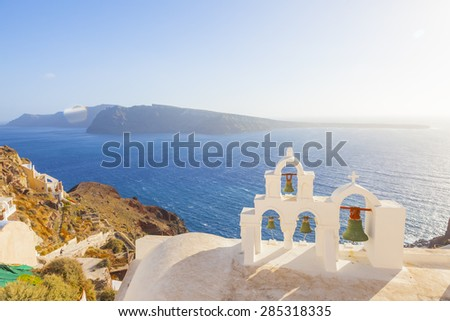 Santorini Greece, Orthodox traditional church - stock photo