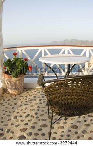 santorini house villa restaurant cafe patio dining view incredible greek islands - stock photo