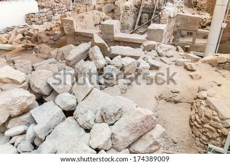 Santorini island, Crete, Greece. Archaeological site in Fira town. - stock photo