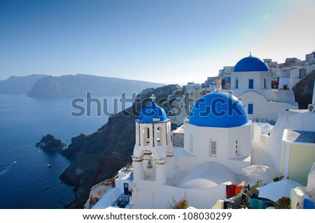 Santorini island landscape of famous Oia village, Greece