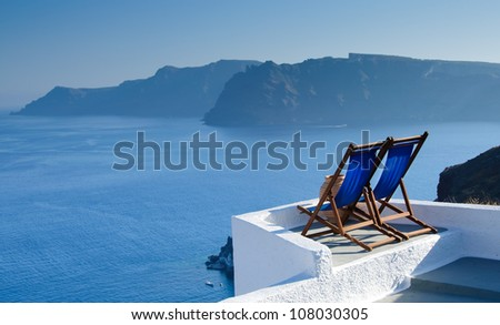 Santorini island landscape of famous Oia village, Greece - stock photo