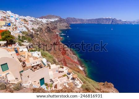 Santorini island with white buildings, Oia town, Greece - stock photo