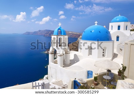 Santorini landscape with greek bell tower, Greece