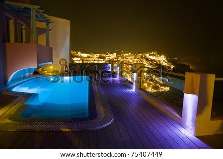 Santorini night - Greece vacation background - stock photo