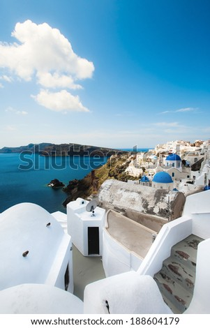 Santorini Oia steps and view