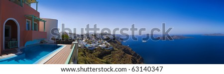 Santorini panorama (Firostefani) - vacation background - stock photo