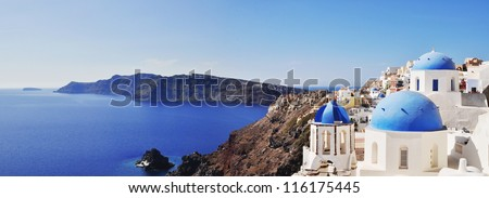 Santorini - panoramic view - stock photo