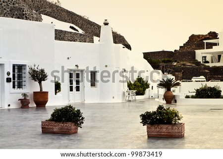 Santorini summer resort at the cyclades islands in aegean sea of Greece - stock photo