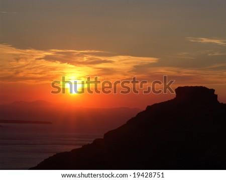 Santorini Sunset - stock photo