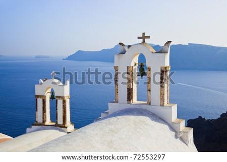 Santorini sunset (Oia) - Greece vacation background - stock photo