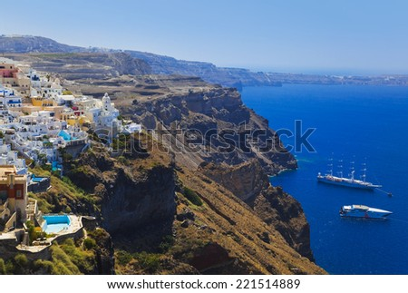 Santorini View (Fira) - vacation background - stock photo