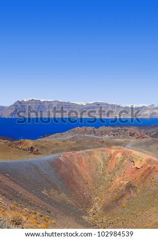 Santorini view from volcano - nature background - stock photo