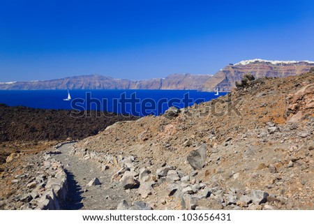 Santorini view from volcano - nature background