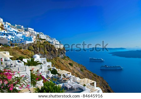 Santorini, view of Fira town with volcano
