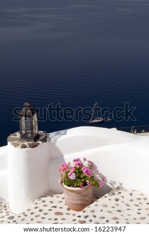 santorini view over harbor from oia ia town thira aegean sea greek islands greece mediterranean - stock photo