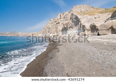 Santorini Vlichada beach, blue sky and sea - stock photo