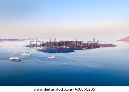 Santorini Volcano Greece - stock photo