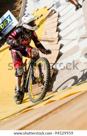 SANTOS, SP/BRAZIL - FEBRUARY 5: Cedric Gracia runs on the downhill track of the circuit of 'Descida das Escadarias de Santos 2012', on February 05, 2012 in Santos, Brazil. Garcia got the third place.