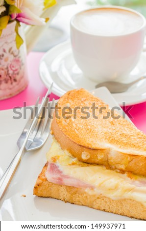 Sanwich ham&cheese with honey sauce