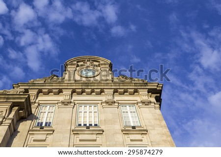 Sao Bento Railway Station facade detail in Porto city. The building station is a popular tourist attraction. Portugal - stock photo
