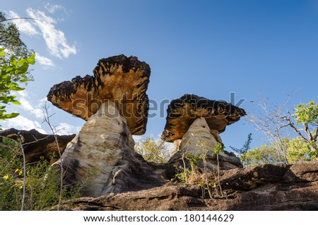 Sao Chaliang, Thailand. Mushroom-like rocks that have been eroded by water and wind in Ubon Ratchathani. - stock photo
