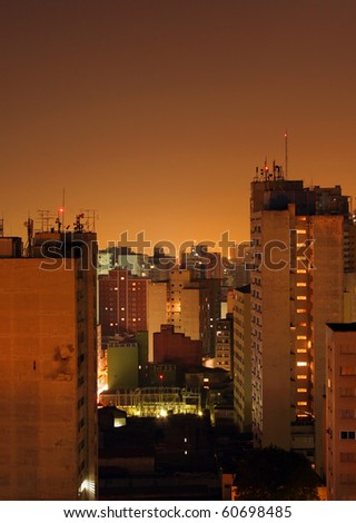 Sao Paolo Brazil skyline at night - stock photo