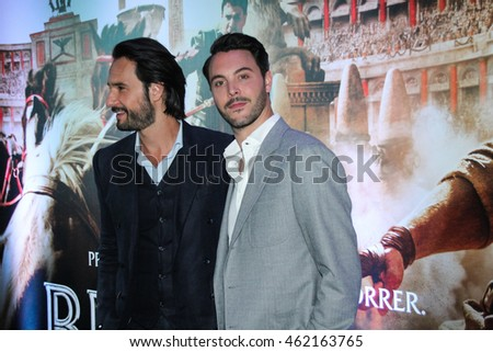 "SAO PAULO,AUGUST 01, 2016: Actors Jack Huston and Rodrigo Santoro attends the Sao Paulo city premiere of ""Ben-Hur"" at Cinepolis Theater."