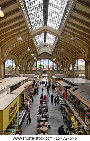 Sao Paulo, Brazil - Aug 11, 2010. Municipal Market (Mercado Municipal) have more than 1,500 people working together to handle about 450 tons of food per day in its more than 290 boxes. - stock photo