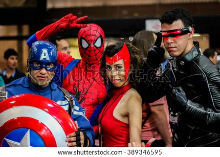 SAO PAULO, BRAZIL, DECEMBER 5, 2015: Cosplayers during Comic Con Experience in Sao Paulo, Brazil.